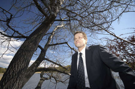 Businessman staring into the distance Stock Photo - 3193369