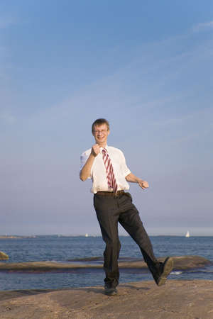 Businessman in happy mood Stock Photo - 3193384