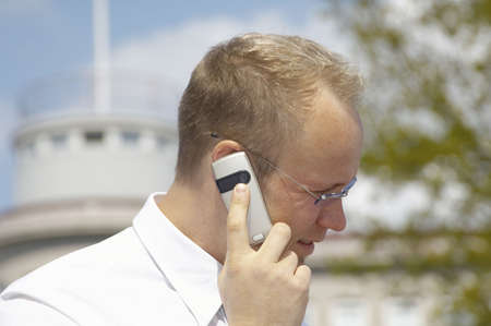 Businessman talking on the mobile phone Stock Photo - 3193420