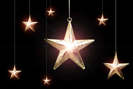 Hanging Christmas star ornaments Stock Photo - 3193653