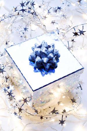 christmas gift: Christmas tree lights and a Christmas gift