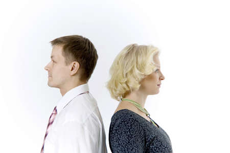 Businessman and businesswoman standing with their back facing each other Stock Photo - 3193726