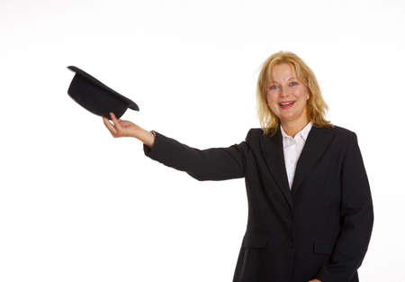 Businesswoman posing with a hat Stock Photo - 3193761