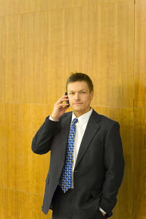 Businessman posing while talking on the mobile phone Stock Photo - 3193934
