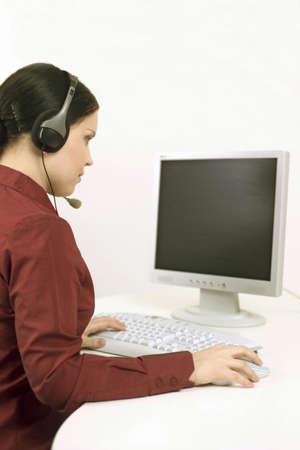 Telephone operator working