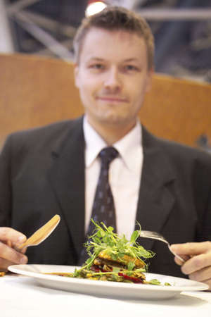 Businessman enjoying his meal