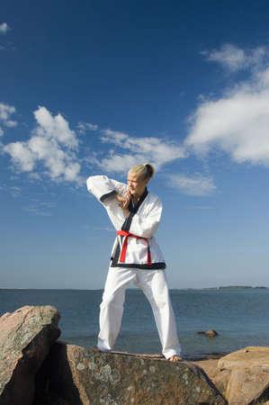 Woman practising taekwondo Stock Photo - 3193998