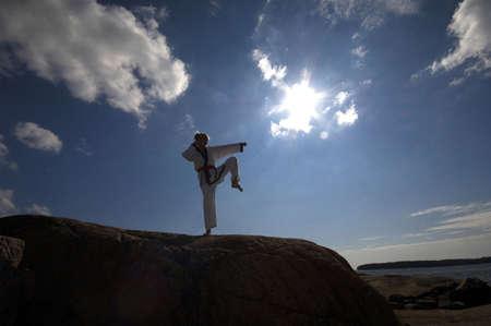Woman practising taekwondo LANG_EVOIMAGES