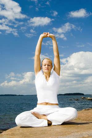 Woman practising yoga Stock Photo - 3194029