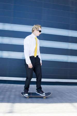 Businessman on skateboard Stock Photo - 3194038