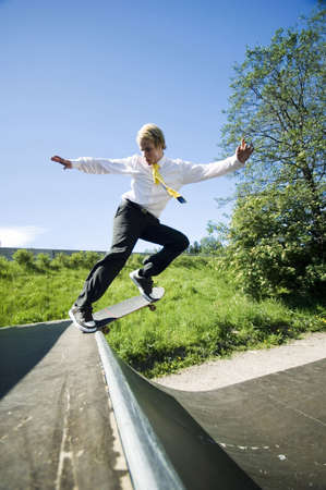 skateboarding tricks: Businessman skateboarding