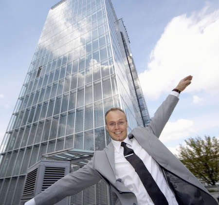 Businessman balancing himself while walking in a straight line Stock Photo - 3194093