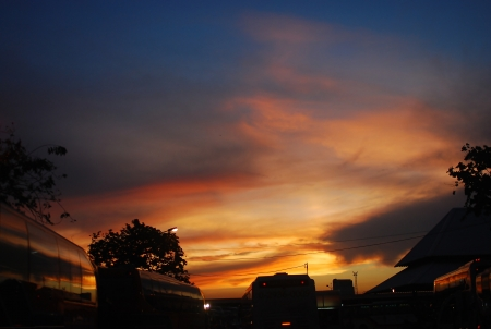 Sunset at thailand bus station