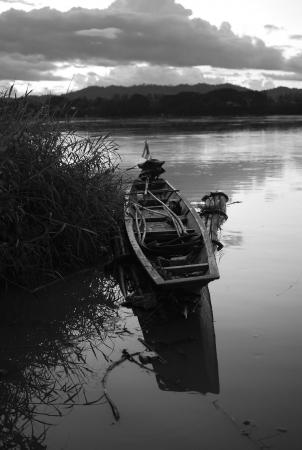 Thai old boat at mekhong river cheangkhan