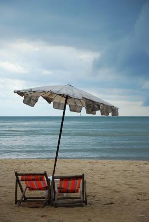 Umbella on the beach @ huehin Thailand 版權商用圖片