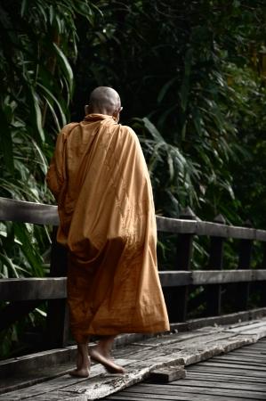 Monk walking on the wood bridge