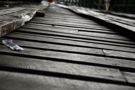 The longest Wood bridge at Sangkhlaburi, Thailand 版權商用圖片