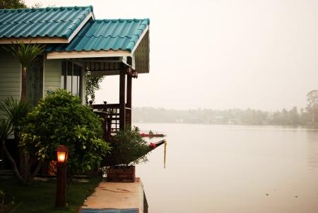 House beside maeklong river at Amphawa Thailand