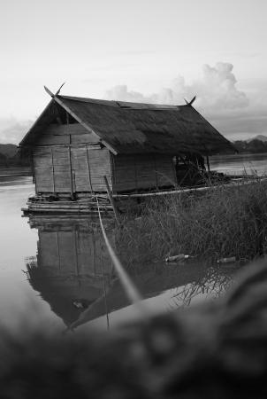 Raft house floating on mekhong river at Cheangkhan, Loei, Thailand
