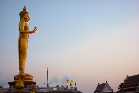 Golden Buddha stand at the sunset 版權商用圖片
