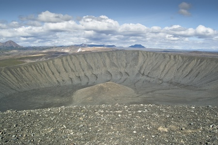 Hverfjall volcano. It is a tephra cone or tuff ring volcano in northern Iceland