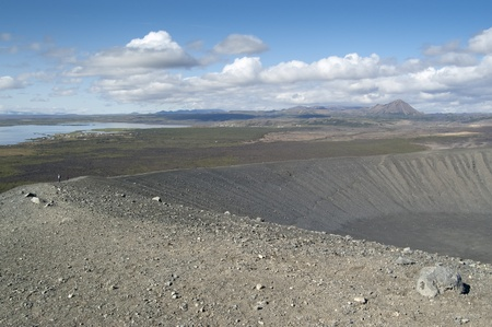 Hverfjall volcano.It is a tephra cone or tuff ring volcano in northern Iceland