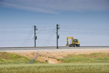 Machines working in Madrid-Levante High-speed rail (Toledo, Spain) Stock Photo
