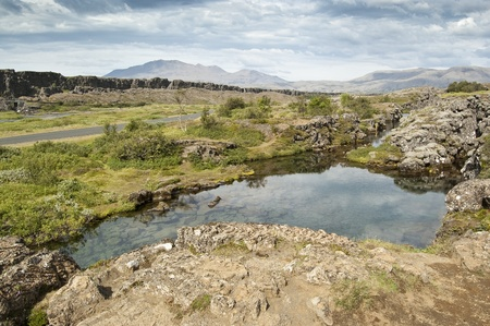 National Park of Thingvellir (Iceland). It is the site of a rift valley that marks the crest of the Mid-Atlantic Ridge Stock Photo
