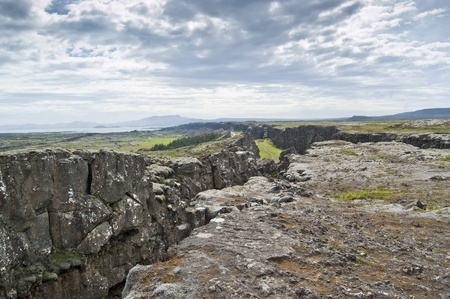 rift: National Park of Thingvellir (Iceland). It is the site of a rift valley that marks the crest of the Mid-Atlantic Ridge Stock Photo