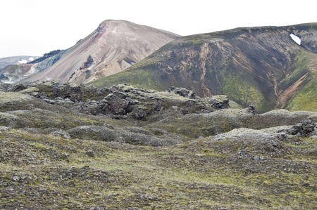 Volcanic landscape in Landmannalaugar (Iceland) photo