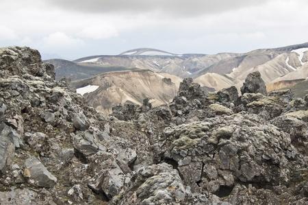 Volcanic landscape in Landmannalaugar (Iceland) photo