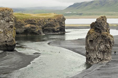 Beach and cliffs in Vik (Iceland) Stock Photo