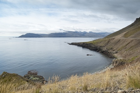 Views of a bay in eastern fiords in Iceland