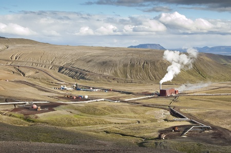 Geothermal power station in volcanic area (Krafla) in Iceland. About 81 percent of total primary energy supply in Iceland is derived from domestically produced renewable energy sources