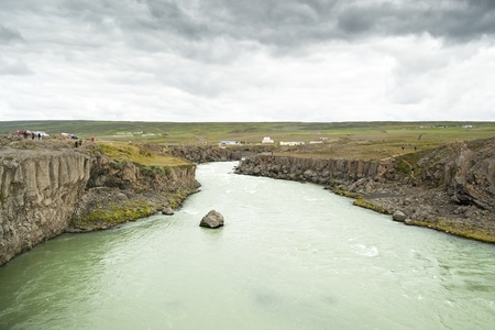 Views of Skjalfandafljot river. It has its source at the northwestern border of the icecap Vatnajokull on the Highlands of Iceland.