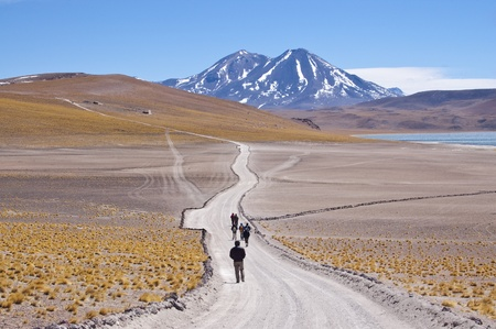 Tourists walking in chilean high plateau photo