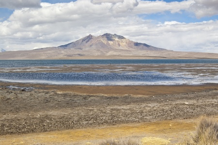 Chungar� Lake and Parinacota volcano, Lauca National Park, Chile photo