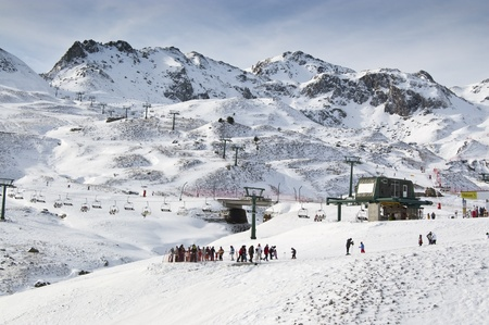 huesca: General view of a ski resort (Formigal, Huesca, Spain) Stock Photo
