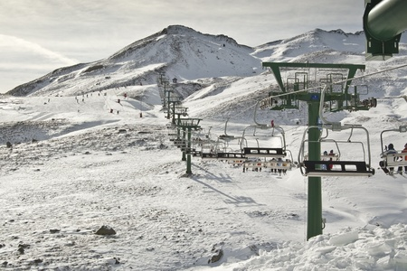 Chair lift in a ski resort (Formigal, Huesca, Spain)