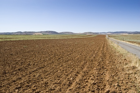 plough land: Ploughed field in an arable landscape in Ciudad Real province, Spain