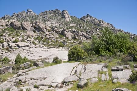 steep holm: Mountain lanMountain landscape in Guadarrama Mountains, Madrid, Spain Stock Photo