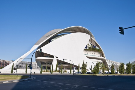 View of Palau de les Arts Reina Sofia  Queen Sofia Palace of Arts  at The City of Arts and Sciences on August 26, 2011 in Valencia, Spain  It is an architectural complex designed by famous Santiago Calatrava  Palace is an opera house opened on 2005