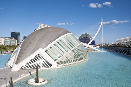 hemispheric: Views of The Hemispheric at The City of Arts and Sciences on August 26, 2011 in Valencia, Spain  It is an architectural complex designed by famous Santiago Calatrava  The building is meant to resemble a giant eye  Editorial