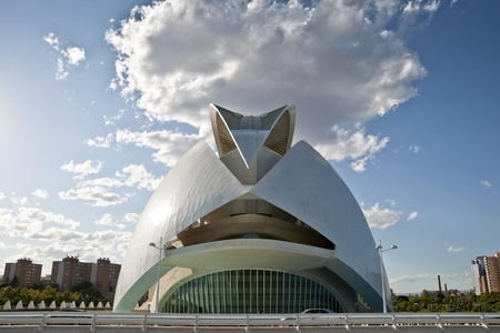 hemispheric: View of Palau de les Arts Reina Sofia  Queen Sofia Palace of Arts  at The City of Arts and Sciences on August 26, 2011 in Valencia, Spain  It is an architectural complex designed by famous Santiago Calatrava  Palace is an opera house opened on 2005