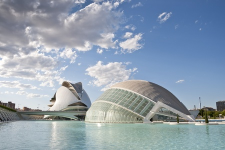 hemispheric: General views of View of The Hemispheric  and Palau de les Arts Reina Sofia at The City of Arts and Sciences on August 26, 2011 in Valencia, Spain  It is an architectural complex designed by famous Santiago Calatrava