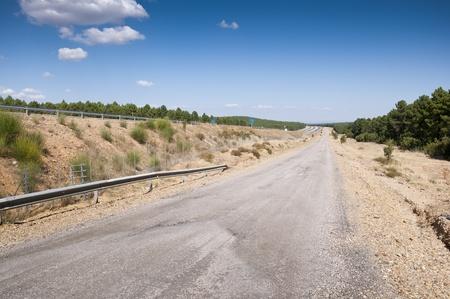 guardrail: Service road next A-15 Highway, Soria, Spain