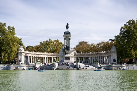 Monument to King Alfonso XII, Retiro Park, Madrid, Spain  The monument is 30 meters high, 86 meters long, and 58 meters wide  At its center is the equestrian statue of King Alfonso XII, cast in bronze, which was created by Benlliure in 1904