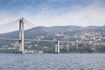 Rande Bridge over Vigo Ria, Pontevedra, Galicia, Spain  It is a cable-stayed bridge linking Vigo to Morrazo peninsula  Stock Photo