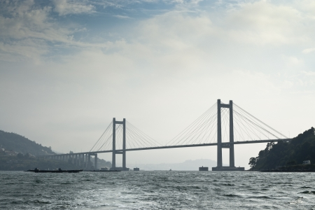 linking: Rande Bridge over Vigo Ria, Pontevedra, Galicia, Spain  It is a cable-stayed bridge linking Vigo to Morrazo peninsula  Stock Photo