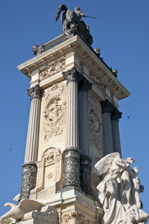 Detail of Monument to King Alfonso XII, located in Retiro Park, Madrid, Spain   The monument is 30 meters high, 86 meters long, and 58 meters wide and was designed by Jose Grases Riera, and inaugurated on June 6, 1922